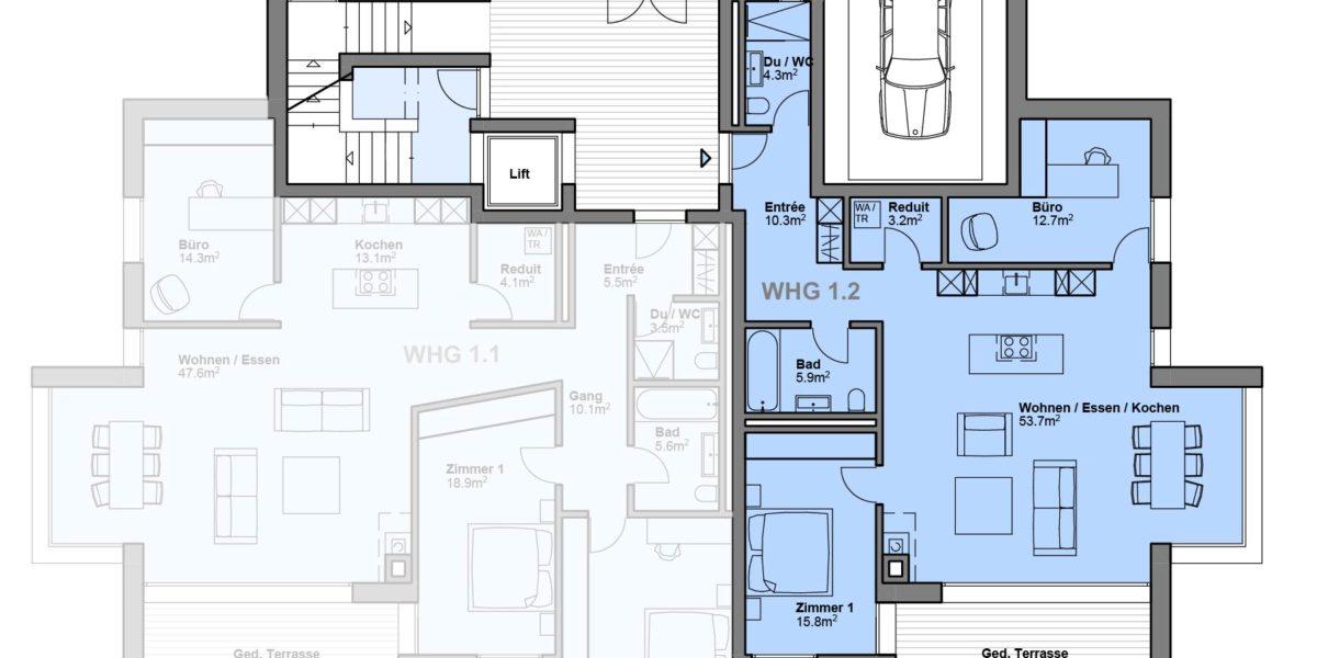 """3.5 Zimmerwohnung Wohnung 1.2 """"Residenz Zentaur"""" Eglisau"""