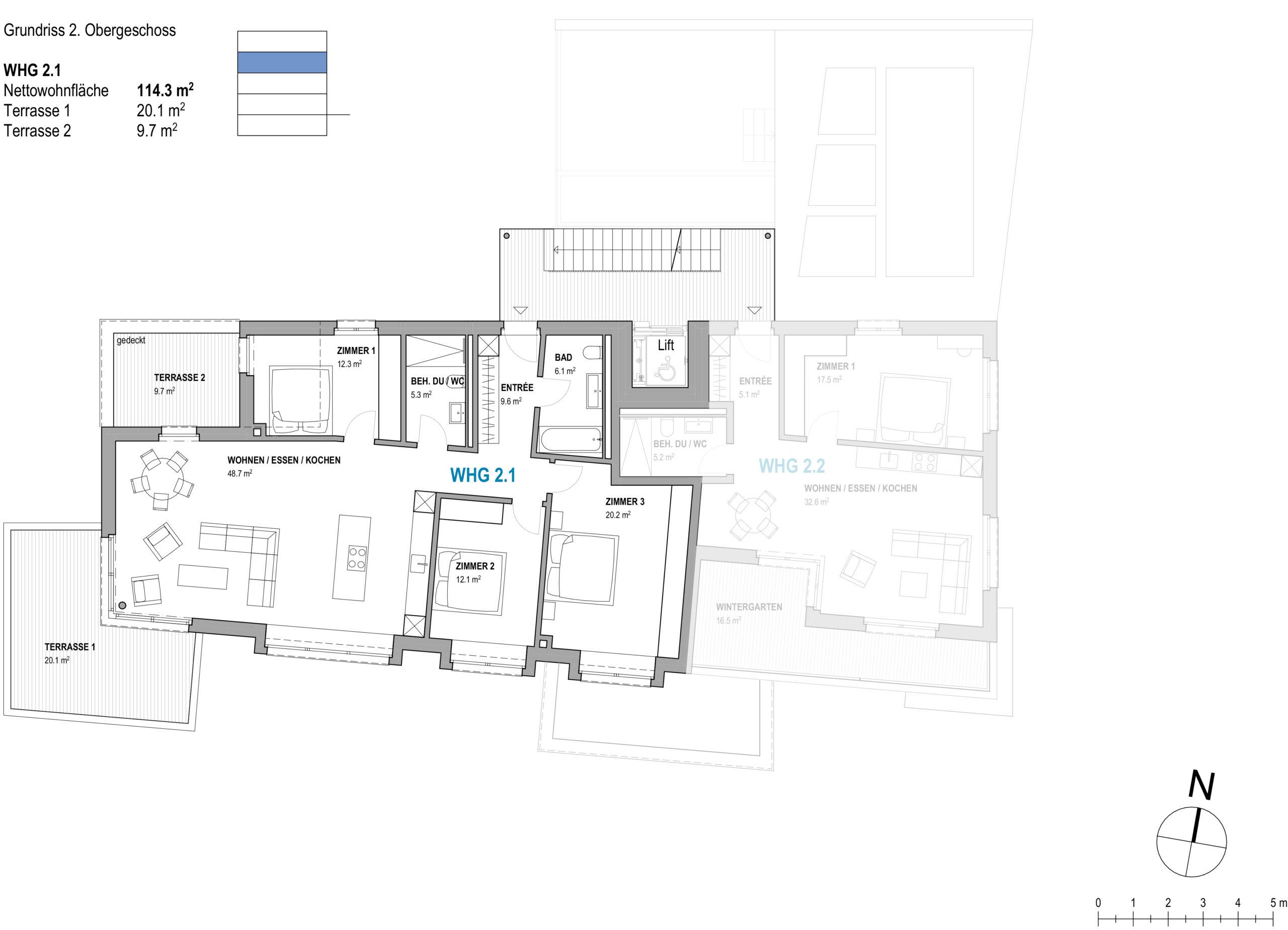 4.5 Zimmerwohnung 2.1   Haus Zentaurus, Aarau-Rohr